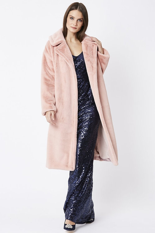 Pink midi faux fur coat