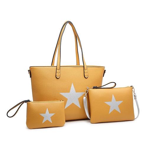 Large mustard star bag