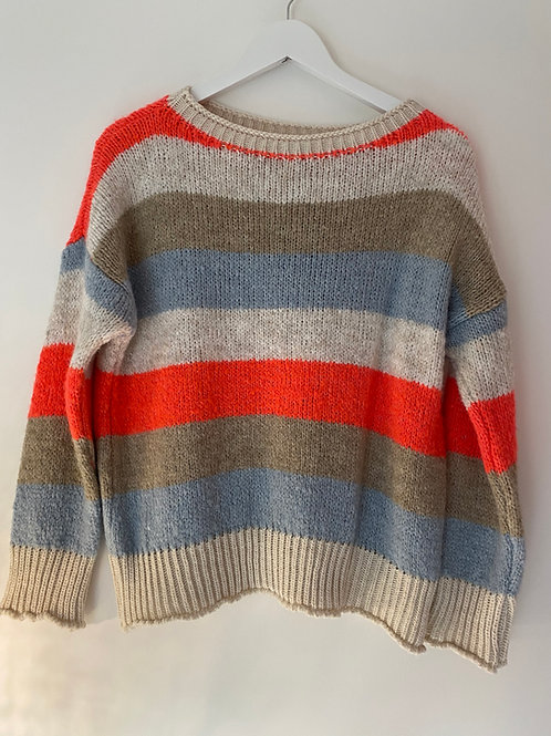 Coral stripe jumper