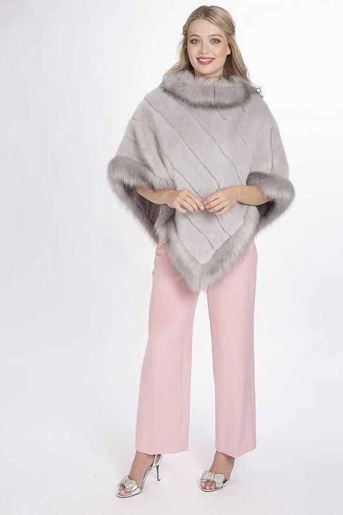 Grey faux fur poncho