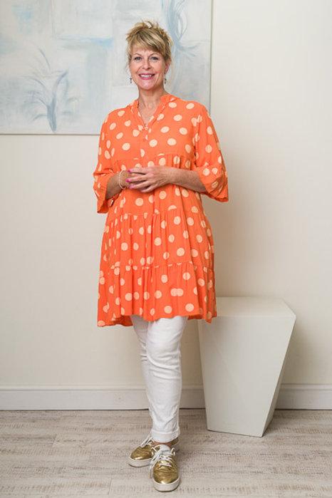 Orange spotty smock dress