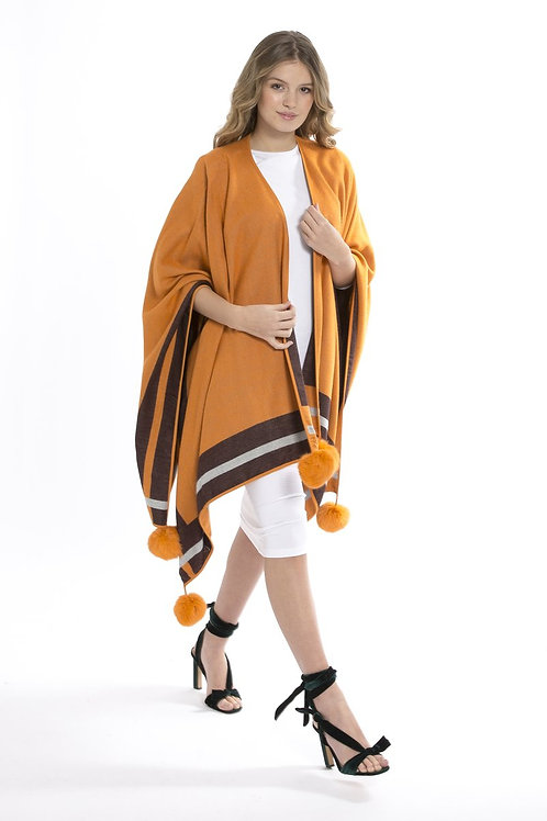 Yellow/brown cashmere wrap