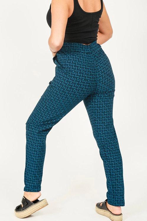 Teal geometric magic trousers