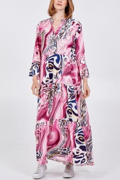 Pink abstract maxi dress