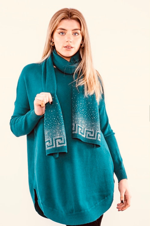 Teal long top with sparkle scarf