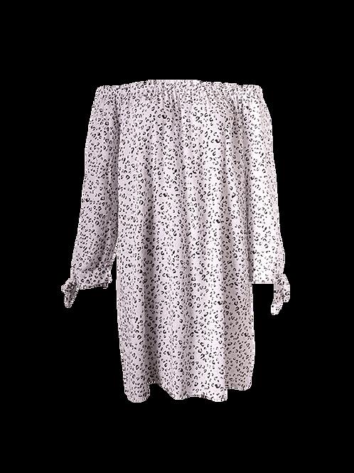 Grey/white mini leopard print dress