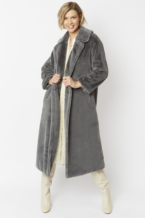 Grey maxi faux fur coat