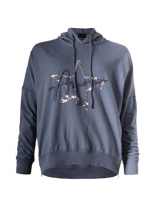 Blue Amour Zip detail hoody