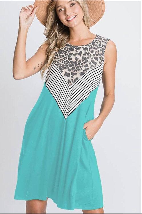 Mint animal print and stripe dress
