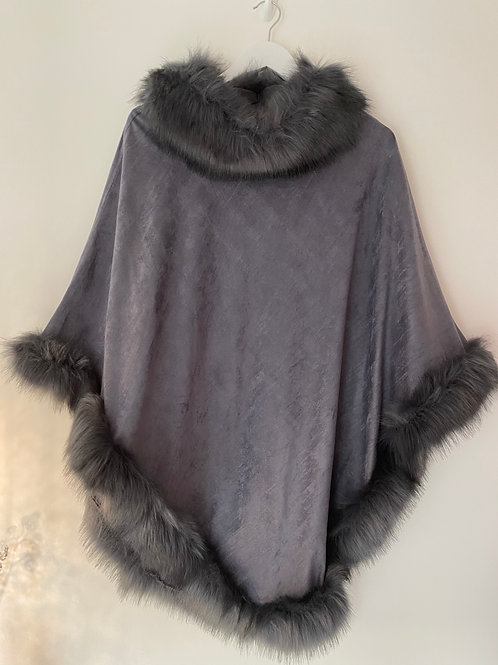 Grey faux fur poncho