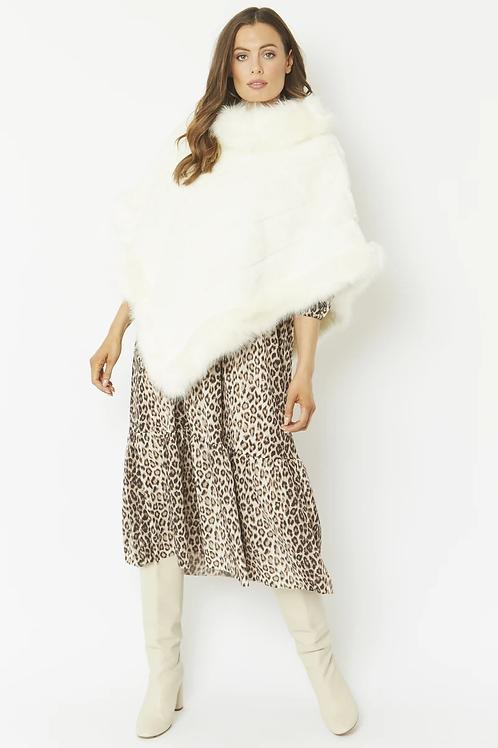 Cream faux fur poncho