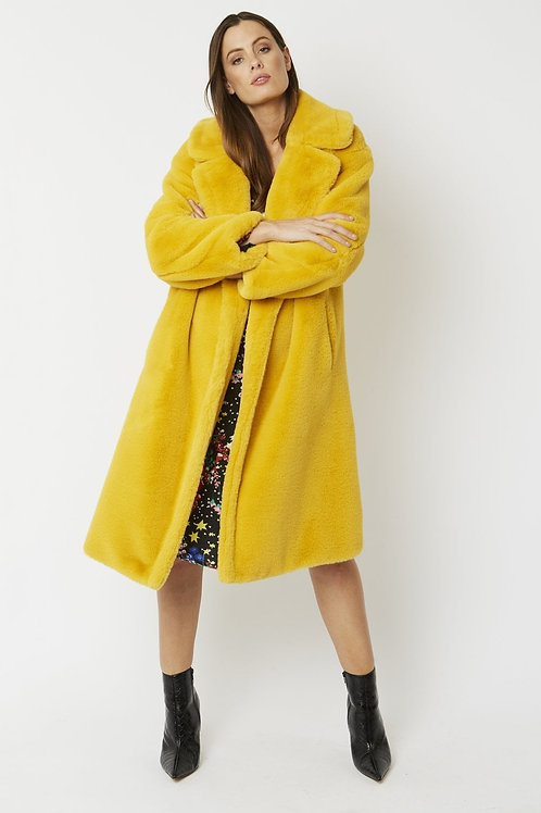 Mustard midi faux fur coat