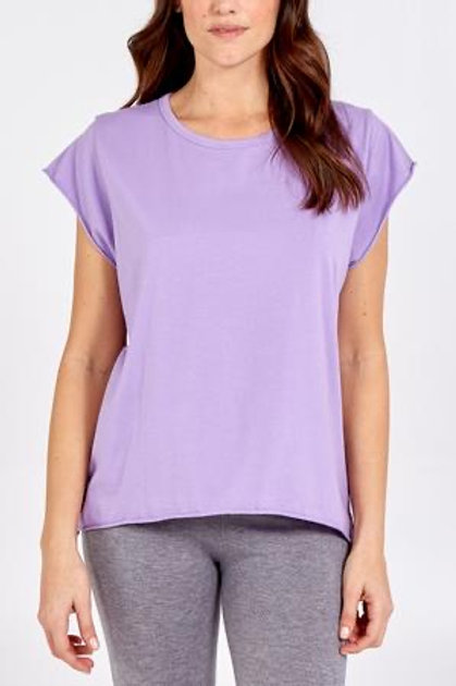 Lilac Cap Sleeve Rolled Edge Top