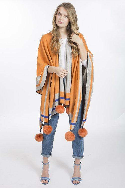 Grey/Orange cashmere wrap