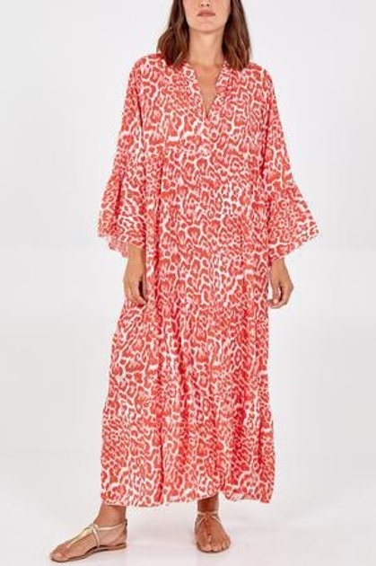 Coral leopard maxi dress