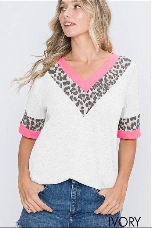 Pink/ivory animal print top