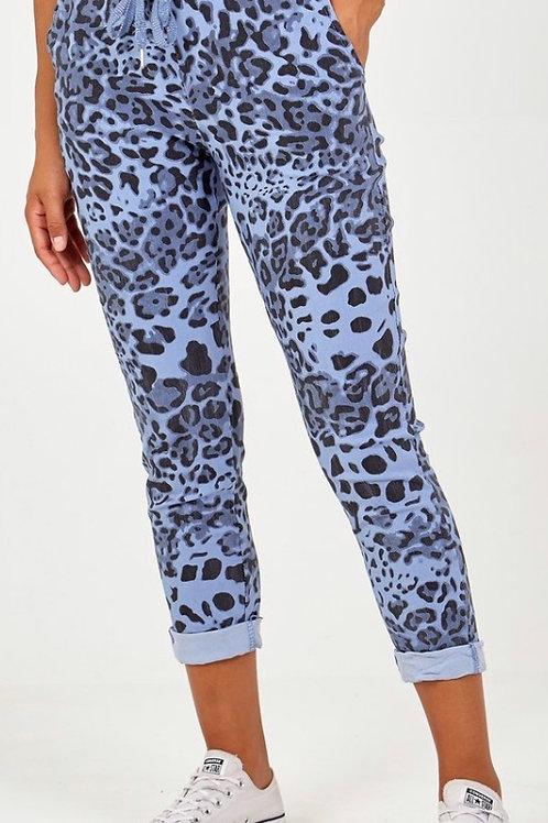 Blue leopard magic trousers