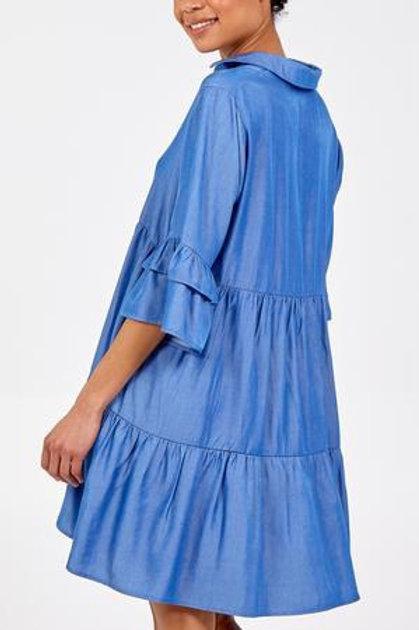 Frill detail tunic dress