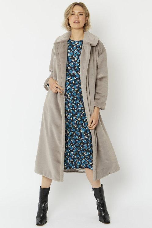 Light grey maxi faux fur coat
