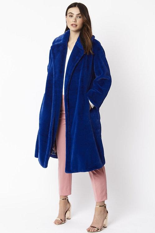 Blue midi faux fur coat