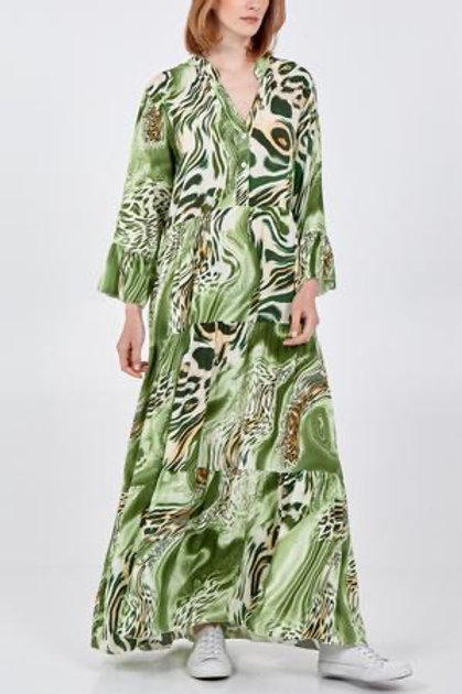 Green abstract maxi dress
