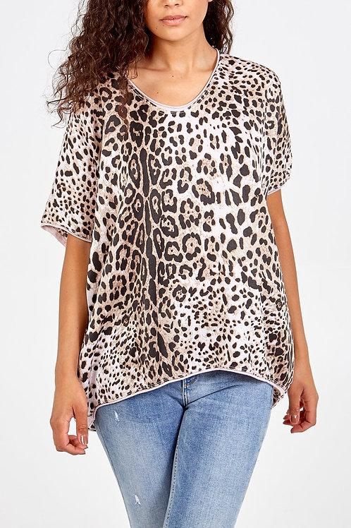 Beige leopard print silky top