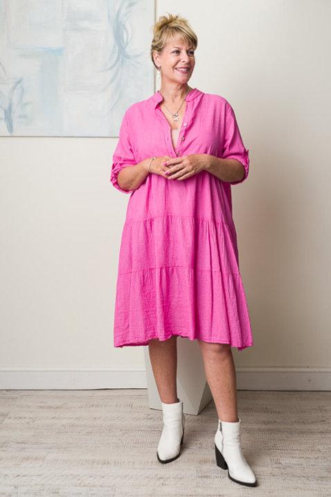 Pink midi smock dress