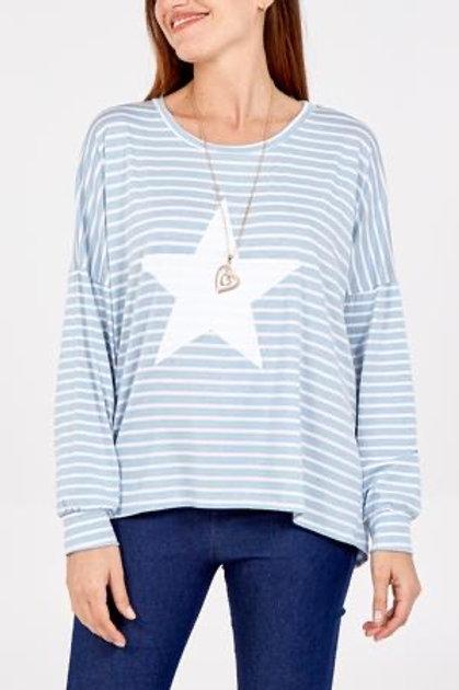 Sky Blue Star Stripe Top