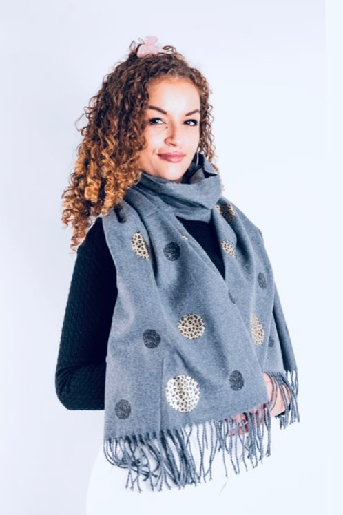 Grey soft gold/silver spot scarf