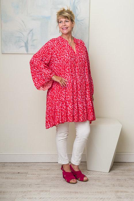 Red digital leopard print dress