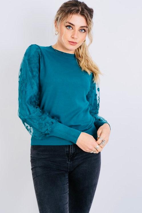 Teal pattern sleeve top