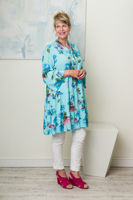 Turquoise floral smock dress
