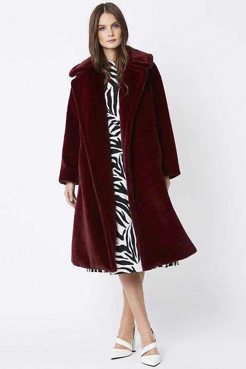 Red midi faux fur coat