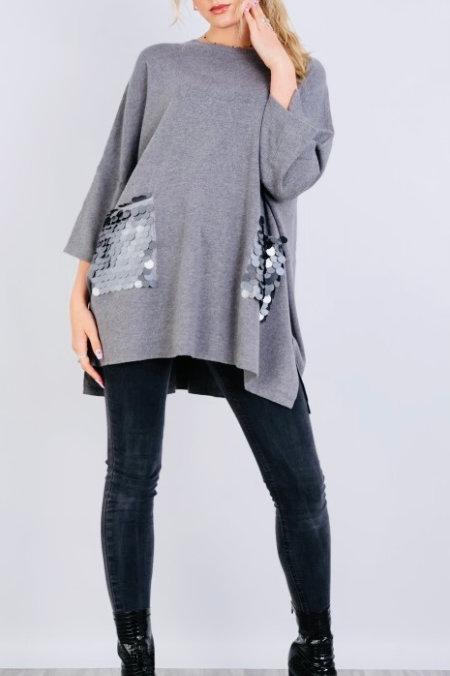 Grey sequin pocket top