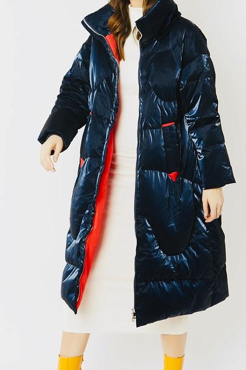 Navy metallic puffa coat
