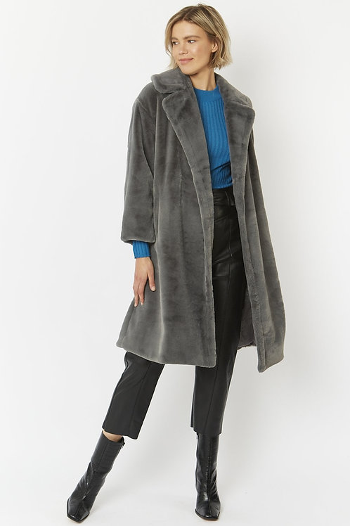 Grey midi faux fur coat