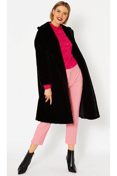 Black midi faux fur coat