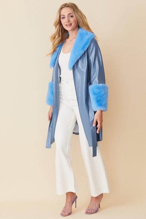Blue faux suede coat