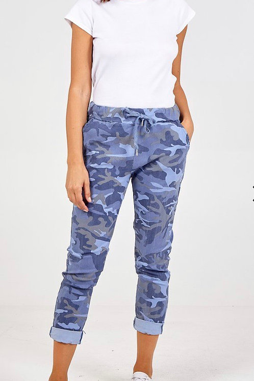 Blue magic camouflage trousers