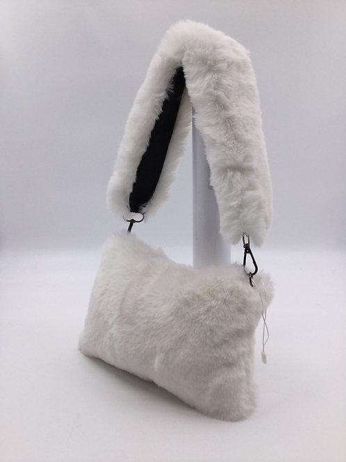White faux fur clutch bag