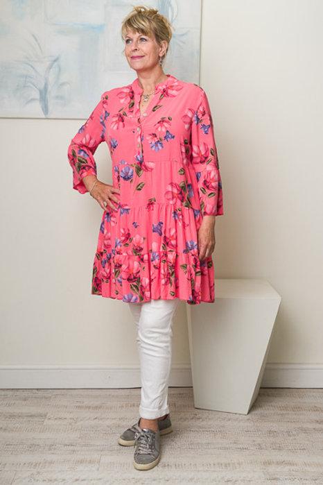 Coral floral smock dress