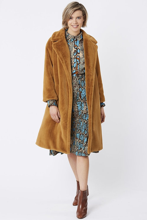 Mocha midi faux fur coat