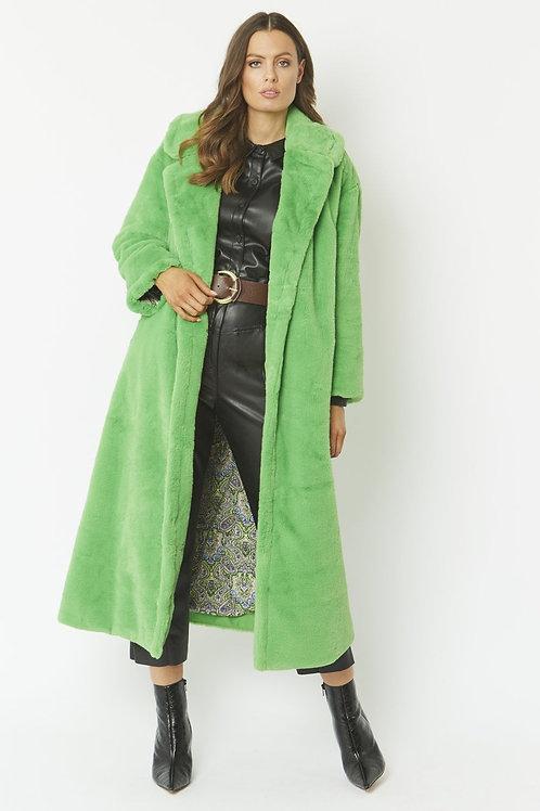 Lime maxi faux fur coat