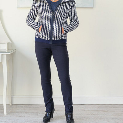 Navy/white retro cardigan