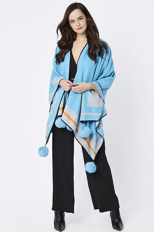 Blue/grey cashmere wrap