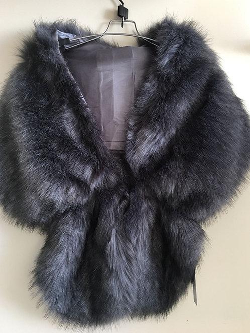 Dark grey faux fur collar/shawl