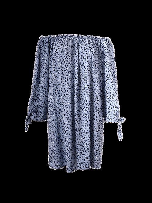 Blue mini leopard print dress
