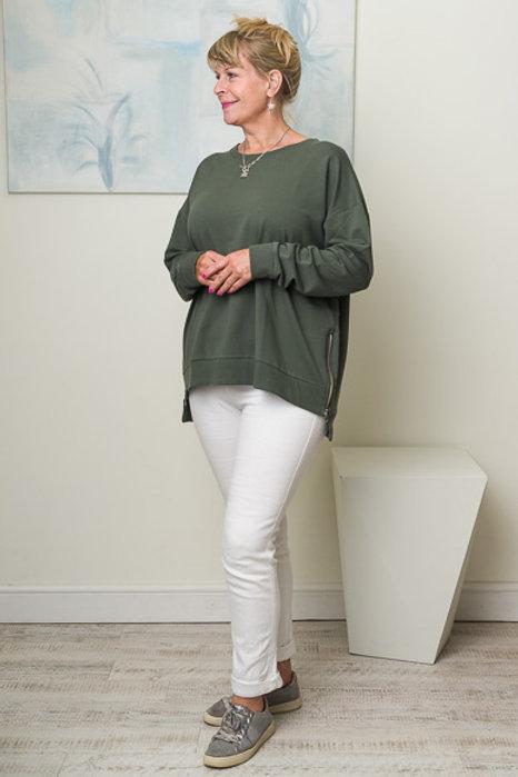 Olive side zip sweatshirt