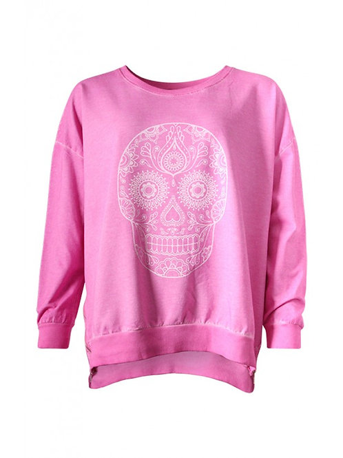 Pink flower skull top