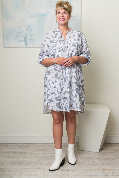 White/grey Camo Shirt Dress